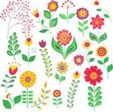 El vector de la flor del verano fijó en el fondo blanco, imitación del estilo del garabato ilustración del vector