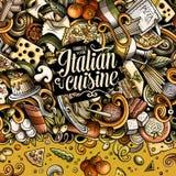 El vector de la historieta garabatea el marco italiano de la comida Imagenes de archivo