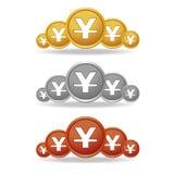 El vector de la moneda de la plata y del bronce de moneda de Yuan Gold diseña Foto de archivo