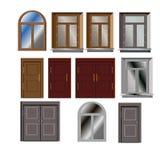 El vector de la puerta y de la ventana fijó para el exterior constructivo Foto de archivo