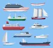 El vector de las naves y de los barcos fijó en un estilo plano Fotografía de archivo libre de regalías