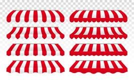 El vector de las tiendas del toldo rayado aisló el sistema libre illustration