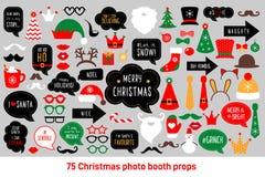 El vector de los apoyos de la cabina de la foto de la Navidad fijó el photobooth stock de ilustración