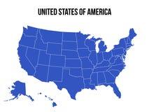 El vector de los E.E.U.U. del mapa de los Estados Unidos de América aisló stock de ilustración