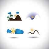 El vector de los iconos de la naturaleza fijó - las montañas, las puestas del sol, el cielo y salidas del sol ilustración del vector