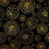 El vector de oro en peonía negra florece el fondo inconsútil del modelo del verano Grande para la tela elegante de la textura del Imagenes de archivo