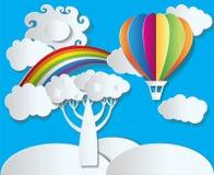 El vector de papel del estilo - ajardine con el arco iris y el globo Foto de archivo libre de regalías