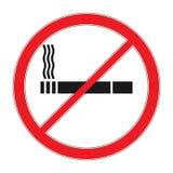 El vector de prohibición firma de no fumadores Esquema del cigarrillo y pictograma linear aislados en blanco icono del cigarrillo Imagen de archivo