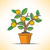 El vector del árbol del dinero crece Imágenes de archivo libres de regalías