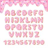El vector del buñuelo del alfabeto embroma la fuente alfabética ABC de los buñuelos con las letras rosadas y los números esmaltad Fotografía de archivo libre de regalías