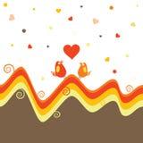 El vector del día de tarjeta del día de San Valentín con los pájaros Foto de archivo libre de regalías