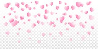 El vector del día de tarjetas del día de San Valentín con rosa sombreó corazones que caían en fondo transparente stock de ilustración