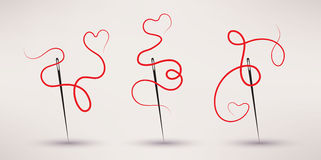 El vector del icono de la aguja y del hilo fijó en estilo plano Imagenes de archivo