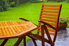 El vector del jardín se coloca en la lluvia Imágenes de archivo libres de regalías