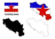 El vector del mapa de Yugoslavia, vector de la bandera de Yugoslavia, Yugoslavia aisló el fondo blanco Fotos de archivo libres de regalías