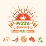 El vector del menú de la pizza coloreó el emblema con el horno del ladrillo libre illustration
