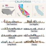 El vector del ` s de California arriba detalló el mapa que mostraba formaciones de los condados Horizontes de ciudades importante ilustración del vector