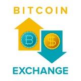 El vector del servicio de intercambio de Bitcoin firma adentro estilo plano stock de ilustración