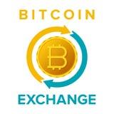 El vector del servicio de intercambio de Bitcoin firma adentro estilo plano ilustración del vector