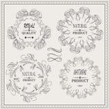 El vector elegante enmarca la etiqueta real de la calidad del producto natural Fotografía de archivo