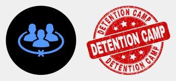 El vector encarceló el icono de las personas y el sello del campo de detención de la desolación stock de ilustración