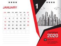 El vector 2020, ENERO DE 2020 mes de la plantilla del calendario de escritorio, disposición del negocio, 8x6 pulgada, semana comi ilustración del vector
