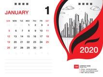 El vector 2020, ENERO DE 2020 mes de la plantilla del calendario de escritorio, disposici?n del negocio, 8x6 pulgada, semana comi ilustración del vector