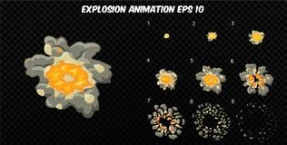 El vector estalla Estalle la animación del efecto con humo Marcos de la explosión de la historieta Hoja de Sprite de la explosión Imágenes de archivo libres de regalías