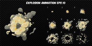 El vector estalla Estalle la animación del efecto con humo Marcos de la explosión de la historieta Hoja de Sprite de la explosión Fotos de archivo libres de regalías