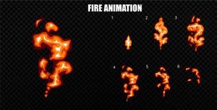 El vector estalla Estalle la animación del efecto con humo Marcos de la explosión de la historieta Hoja de Sprite de la explosión Fotografía de archivo libre de regalías