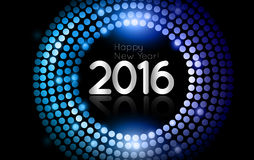 El vector - Feliz Año Nuevo 2016 - disco del oro enciende el marco Imagen de archivo libre de regalías