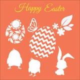 El vector feliz de pascua fijó con las siluetas de pollos, del conejo, de la flor, de la hoja y de huevos Fotografía de archivo libre de regalías