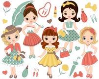 El vector fijó con las niñas lindas en estilo retro y complementos stock de ilustración