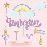 El vector fijó con el unicornio, arco iris, cuerno, nube, estrella Fotos de archivo