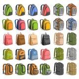 El vector fijó de diversas mochilas stock de ilustración