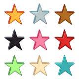 El vector fijó de ejemplos coloridos de la estrella stock de ilustración