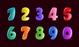 El vector fijó para las figuras de los niños en estilo de la historieta Fuentes para el niño, números coloridos del bebé de la bu ilustración del vector