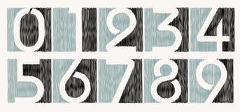 El vector garabateó el conjunto del número Fotos de archivo libres de regalías