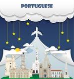 El vector global de Infographic del viaje y del viaje de la señal del fondo del viaje del portugués diseña la plantilla Ilustraci Foto de archivo