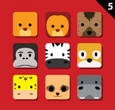 El vector grande plano de la historieta del icono del uso de las caras del animal fijó 5 (el safari) Fotos de archivo