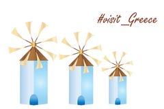 El vector griego de los molinoes de viento de la isla - visite el logotipo de Grecia ilustración del vector