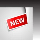 El vector incide la esquina con la nueva escritura de la etiqueta Foto de archivo libre de regalías