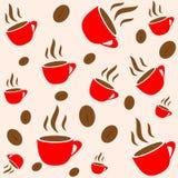 El vector inconsútil rojo de la taza y de la haba del café wallpaper Imágenes de archivo libres de regalías