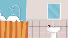El vector interior del fondo del cuarto de baño casero para la historieta, animación, hace publicidad, campaing Fotos de archivo