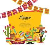 El vector México plano atribuye debajo de marco con el lugar para el ejemplo del texto y de las guirnaldas libre illustration