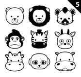 El vector monocromático de la historieta del icono de las caras planas del animal fijó 5 (el safari) Fotografía de archivo