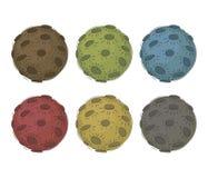 el vector multicolor 6 pintó las lunas con los cráteres aislados en el sistema blanco del fondo Fotos de archivo libres de regalías