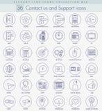El vector nos entra en contacto con sistema del icono del esquema Línea fina elegante diseño del estilo Fotos de archivo