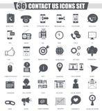 El vector nos entra en contacto con sistema negro del icono de la ayuda Diseño clásico gris oscuro del icono para el web Fotos de archivo libres de regalías