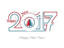 El vector numera 2017 y el pequeño árbol de navidad Fotos de archivo
